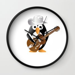 Funny penguin with guitar Wall Clock