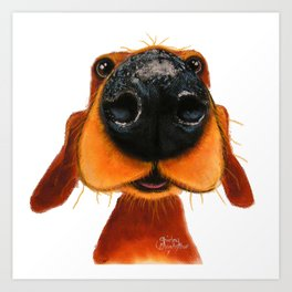 Nosey Dog ' NOSEY NANDO ' by Shirley MacArthur Art Print