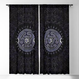 Hecate Wheel Ornament with Amethyst and Silver Blackout Curtain
