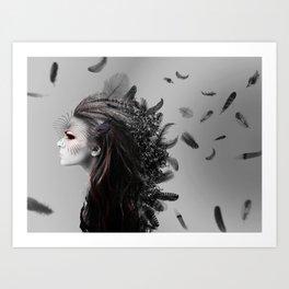 Fighting Feathers Art Print
