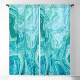 Aqua and Blue Marble Faux Stone Texture Background (Marble 004, Original) Blackout Curtain