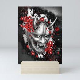 Hannya Mask and Sakuras Mini Art Print