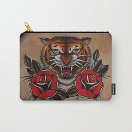 Old School Tiger and roses - tattoo Carry-All Pouch