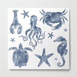Delft Blue nautical Marine Life pattern, coastal beach Metal Print