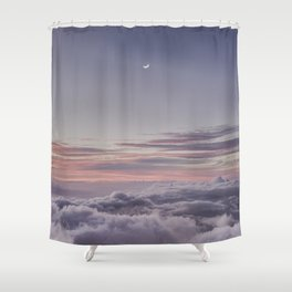 Sunset and Moon Rise Above the Clouds // Mount Haleakala, Maui Shower Curtain