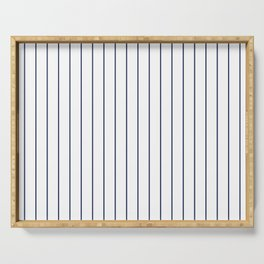 Classic Blue Baseball Stripe Lines On White Serving Tray