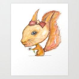 NORDIC ANIMAL - SUZY THE SQUIRREL / ORIGINAL DANISH DESIGN bykazandholly Art Print