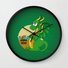 Green dragon cartoon Wall Clock