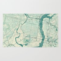 philadelphia Area & Throw Rugs featuring Philadelphia Map Blue Vintage by City Art Posters