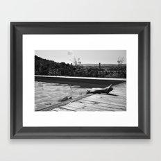 girl in pool Framed Art Print