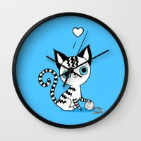 kitten Wall Clocks featuring Kitten by Freeminds