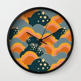 Retro 70s Inspired Boho Clouds Wall Clock