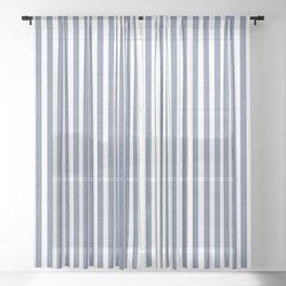 WASHED DENIM CHAMBRAY STRIPES Sheer Curtain
