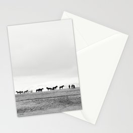 Black and White Horses in Landscape Photograph, Iceland Stationery Cards
