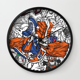 Pager Collage 2 Royal Stain Wall Clock