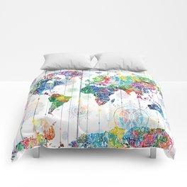 world map mandala white Comforters