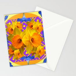 Golden Daffodils Blue Morning Glories Garden Pattern Stationery Cards