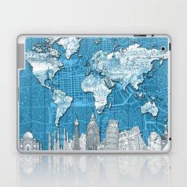 world map city skyline 10 Laptop & iPad Skin