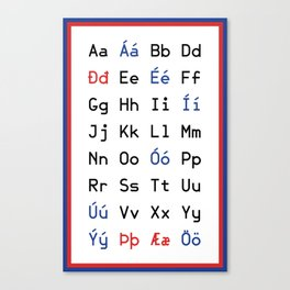 Icelandic Alphabet Canvas Print