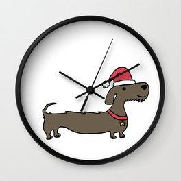 Dacshund Santa Wall Clock
