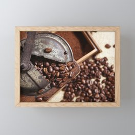 Coffee grinder with coffee beans picture 2 Framed Mini Art Print