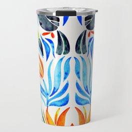 Tropical Toucans – Blue Leaves Travel Mug