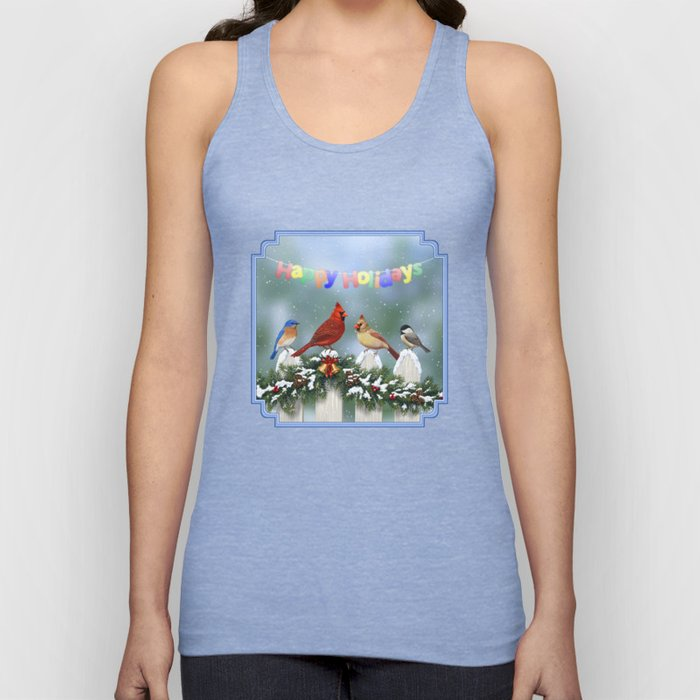 Christmas Birds and Garland Fence Unisex Tank Top
