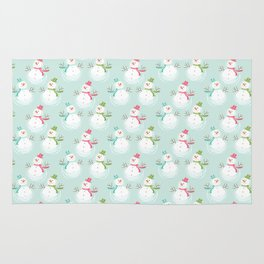 Adorable Christmas Snowmen Pattern Rug