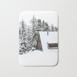 Log Cabin in the Snow, Winter Wall Art Bath Mat