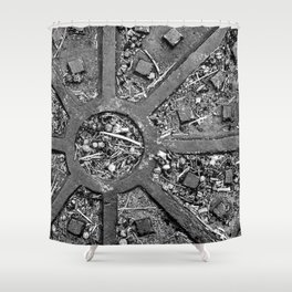 High Contrast Manhole Cover Shower Curtain
