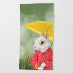 It's raining, little bunny! Beach Towel