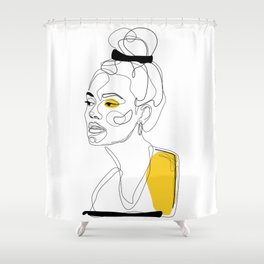 Yellow Sketch Shower Curtain