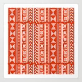 Boho Mud Cloth (Coral) Art Print