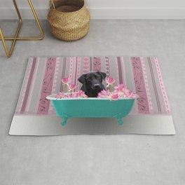 Labrador Retriever in Bathtub with Lotus Flower Rug