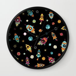 Space Ship Animals Seamless Pattern Wall Clock