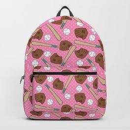 Girl baseball pattern on a pink background Backpack