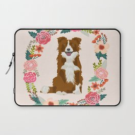 border collie brown floral wreath dog gifts pet portraits Laptop Sleeve