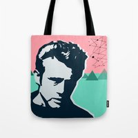 james franco Tote Bags featuring  james  by mark ashkenazi