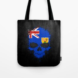 Flag of Turks and Caicos on a Chaotic Splatter Skull Tote Bag