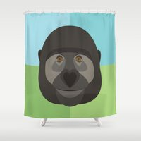 gorilla Shower Curtains featuring Gorilla by Amy Newhouse