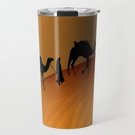 Camel Train Procession at Sunset Travel Mug
