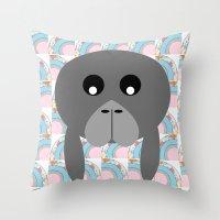 manatee Throw Pillows featuring Rainbow Manatee by Bunhugger Design