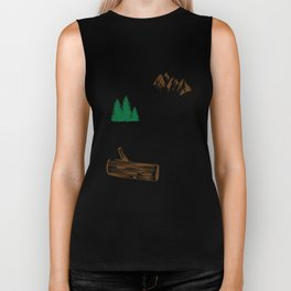 Two roads diverged in a wood, and I Inspirational Quote Design Biker Tank
