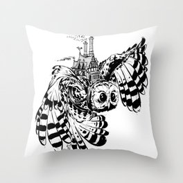 Travel By Owl Throw Pillow