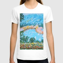 Portofino Harbor and Flowers Landscape Painting T-shirt