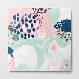 Ostara - minimal abstract painting trendy navy mint and pink pastels acrylic large minimalist Metal Print