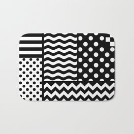Mixed Patterns (Horizontal Stripes/Polka Dots/Wavy Stripes/Chevron/Checker) Bath Mat