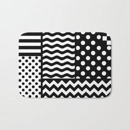 Mixed Patterns (Horizontal Stripes/Polka Dots/Wavy Stripes/Chevron/Checker) Bath Mat