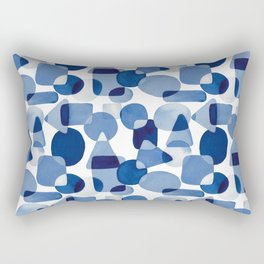Blue Watercolour Geometric Rectangular Pillow