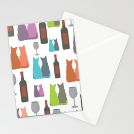 Cats and wine Stationery Cards